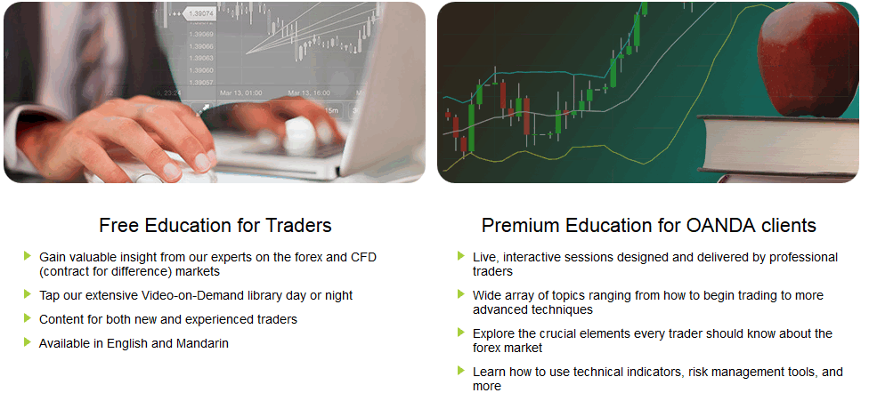 view of live rates of forex and cfds offered on an oanda brokerage account