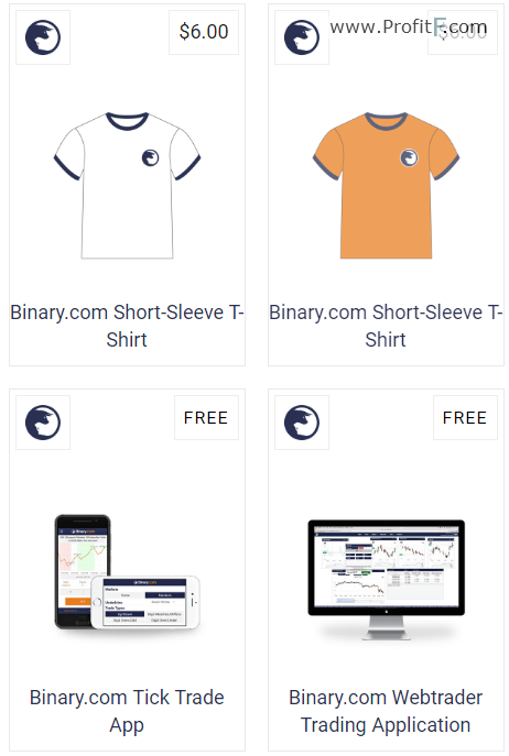 Binary.com shop example products