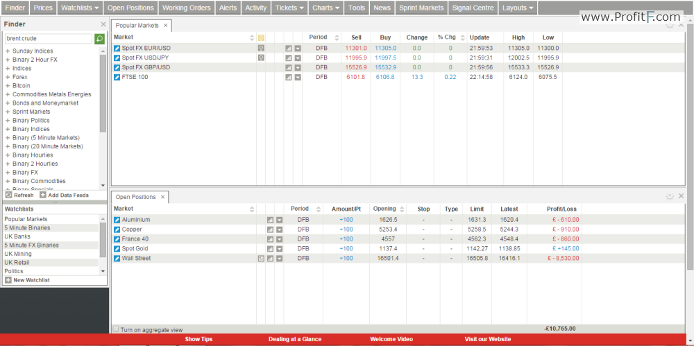 Spread betting platform screen 1