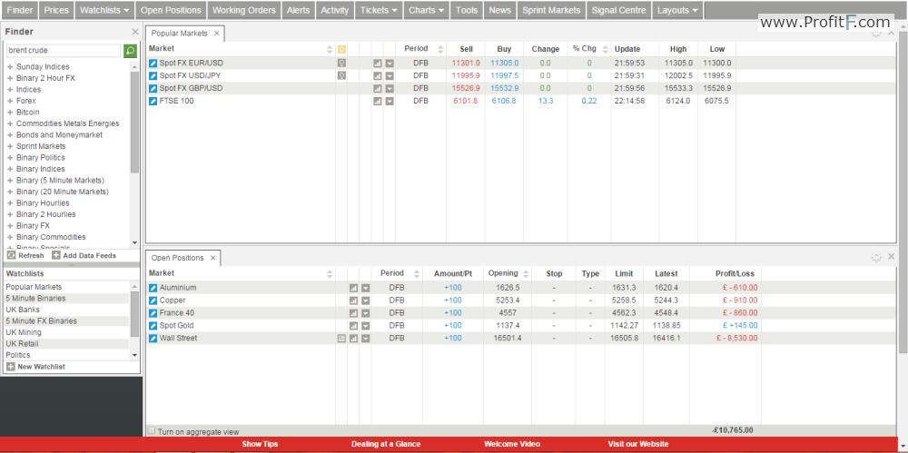 Spread betting platform screen 1