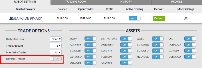 reverse trading feature BinaryOptions Robot