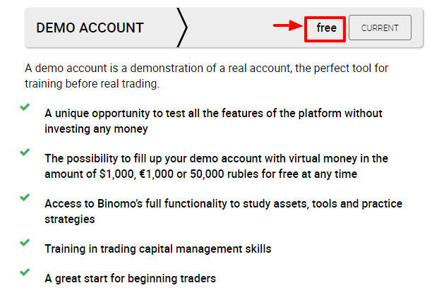 Binomo Demo Account Type