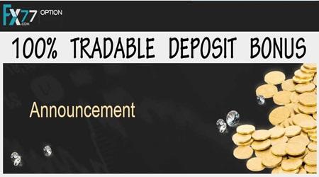100% Deposit Bonus - FX77