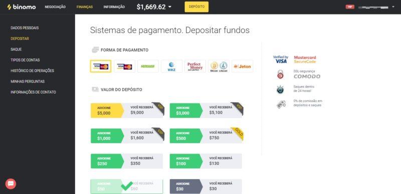 Binomo Brasil payment